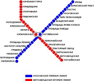 Карта метро г.Минск. Схема метрополитена: Минск.