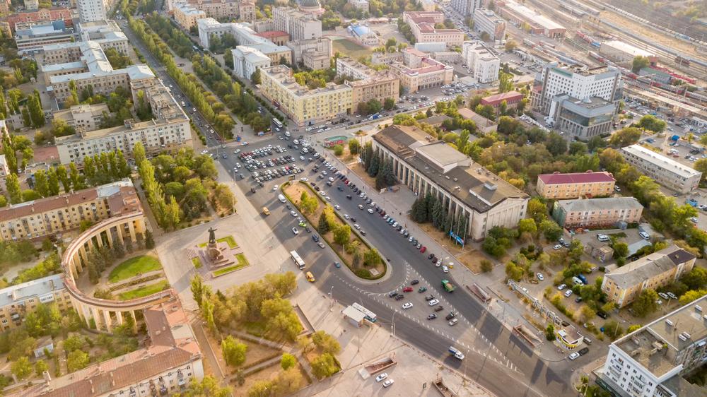 Вид на Волгоград с высоты
