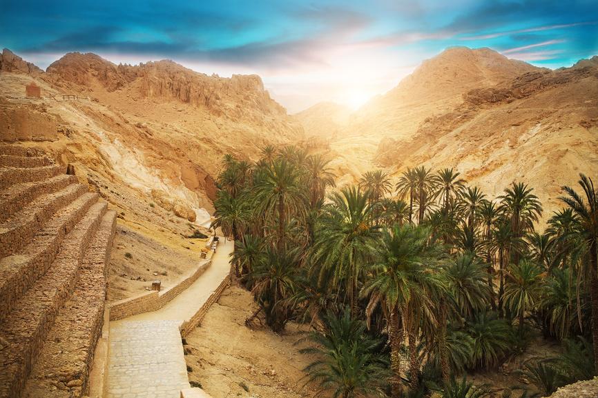 Горный оазис Чебика, пустыня Сахара, Тунис.