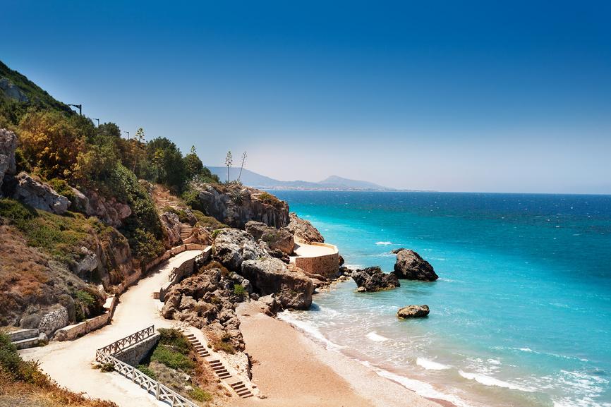 Вид на Средиземное море. Родос, Греция.