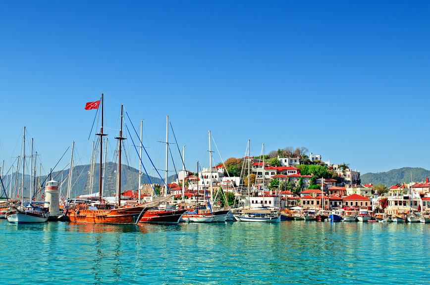 Порт Мармарис, вид с воды. Мармарис, Турция.