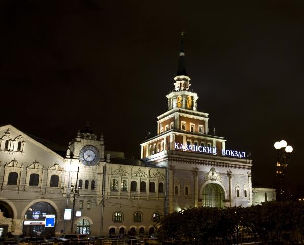 Казанский вокзал ночью