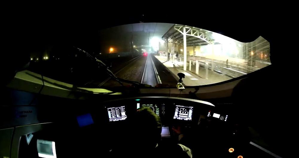 Поезд Сапсан - вид из кабины